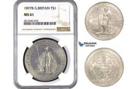AA052, Great Britain, Trade Dollar 1897-B, Bombay (Not vissible) Silver, NGC MS61