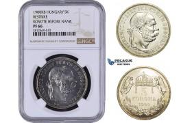 AA054, Hungary, Franz Joseph, 5 Korona 1900-KB (Restrike) Silver, NGC PF66