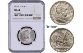 AA055, Italy, Vitt. Emanuele III, 2 Lire 1916-R, Rome, Silver, NGC MS64