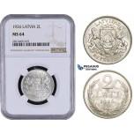 AA059, Latvia, 2 Lati 1926, Silver, NGC MS64