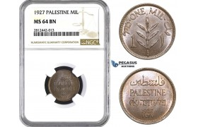 AA060, Palestine, 1 Mil 1927, London, NGC MS64BN
