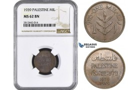 AA061, Palestine, 1 Mil 1939, London, NGC MS62BN