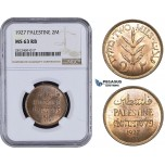 AA062, Palestine, 2 Mils 1927, London, NGC MS63RB