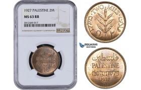 AA062, Palestine, 2 Mils 1927, London, NGC MS63RB