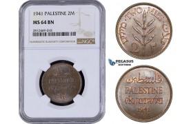 AA063, Palestine, 2 Mils 1941, London, NGC MS64BN