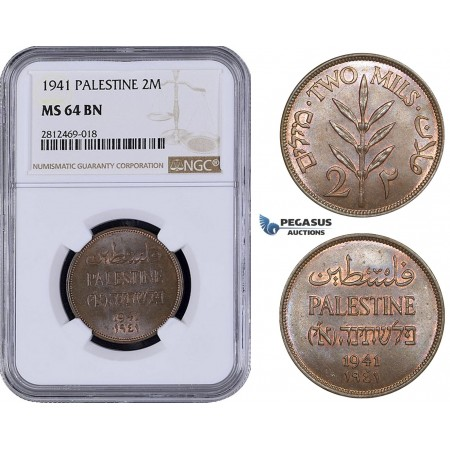 AA063, Palestine, 2 Mils 1941, London, NGC MS64BN