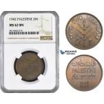 AA064, Palestine, 2 Mils 1942, London, NGC MS62BN