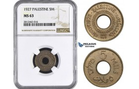 AA065, Palestine, 5 Mils 1927, London, NGC MS63