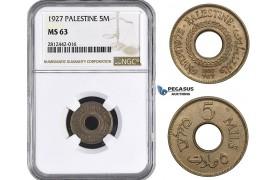 AA065, Palestine, 5 Mils 1927, London, NGC MS63
