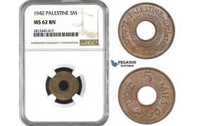 AA066, Palestine, 5 Mils 1942, London, NGC MS62BN