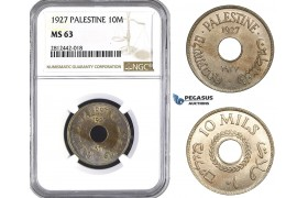 AA067, Palestine, 10 Mils 1927, London, NGC MS63