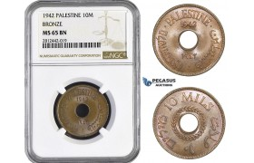AA068, Palestine, 10 Mils 1942, London, Bronze, NGC MS65BN, Rare Grade! Pop 4/1