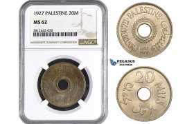 AA069, Palestine, 20 Mils 1927, London, NGC MS62