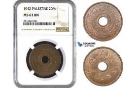 AA070, Palestine, 20 Mils 1942, London, NGC MS61BN