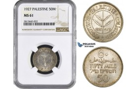 AA071, Palestine, 50 Mils 1927, London, Silver, NGC MS61