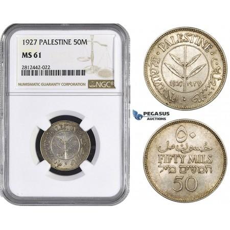 AA071, Palestine, 50 Mils 1927, London, Silver, NGC MS61