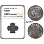 AA073, Romania, Carol I, 2 Bani 1879-B (20mm) Bucharest, NGC AU58BN