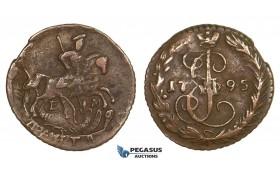 AA077, Russia, Catherine II, Denga 1795-EM, Ekaterinburg, Red Brown XF