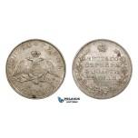 AA078, Russia, Nicholas I, Rouble 1831 СПБ-НГ, St. Petersburg, Silver, Bit. 111 (R) Lustrous AU