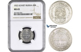 AA079, Russia (Soviet) 20 Kopeks 1923, Leningrad, Silver, NGC MS65