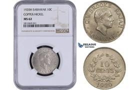 AA080, Sarawak, C.V. Brooke Rajah, 10 Cents 1920-H, Heaton, Copper-Nickel, NGC MS62