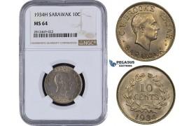 AA081, Sarawak, C.V. Brooke Rajah, 10 Cents 1934-H, Heaton, NGC MS64