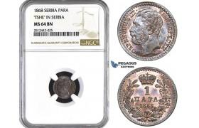 AA082, Serbia, M. Obrenovic III, 1 Para 1868, NGC MS64BN