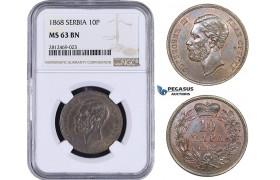 AA084, Serbia, M. Obrenovic III, 10 Para 1868, NGC MS63BN