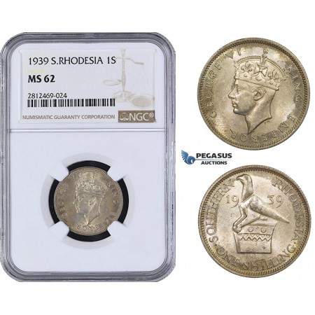 AA086, Southern Rhodesia (Zimbabwe) George VI, 1 Shilling 1939, Silver, NGC MS62, Pop 1/0, Finest! Rare!