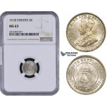 AA089, Straits Settlements, George V, 5 Cents 1918, Silver, NGC MS63
