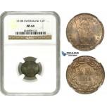 AA093, Switzerland, 1/2 Franc 1910-B, Bern, Silver, NGC MS66