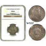 AA094, Switzerland, 1 Franc 1910-B, Bern, Silver, NGC MS66