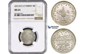AA095, Ottoman Empire, Turkey, Mehmed Reshad V, 5 Kurush AH1327/2, Konstantiniye, Silver, NGC MS63