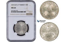AA096, Ottoman Empire, Turkey, Mehmed Reshad V, 10 Kurush AH1327/7, Konstantiniye, Silver, NGC MS64