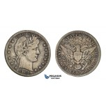 AA099, United States, Barber Quarter (25C) 1914-S, San Francisco, Silver, Toned VF