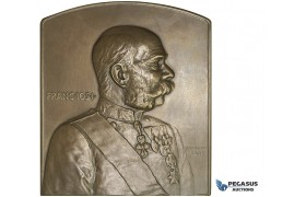 AA172, Austria, Bronze Plaque Medal 1902 (71x80mm, 217g) by Neuberger, Franz Joseph