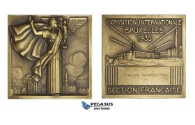 AA174, Belgium, Bronze Art Deco Plaque Medal 1935 (63.5x63.5mm, 155g) by Turin, French Section