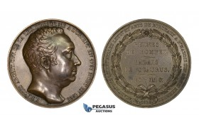 AA181, France & Italy, Bronze Medal 1828 (Ø51mm, 60.5g) by Barre, F. Mazois, Archeology, Pompeii Ruins