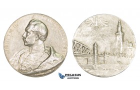 AA190, Germany, Prussia, Wilhelm II, Silver Medal 1899 (Ø40mm, 26.7g) Dortmund Port Inauguration