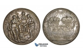 AA197, Netherlands & France, Cast Silver Medal 1678 (Ø66.7mm, 40.6g) by Dishoecke, Peace of Nijmegen, Rare!!