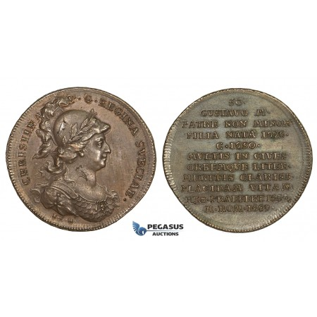 AA204, Sweden, Bronze Medal c. 1700 (Ø34mm, 14.1g) by Hedlinger, Queen Christina