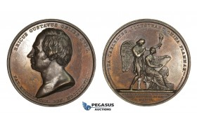 AA208, Sweden, Bronze Medal 1850 (Ø50mm, 68.2g) by Lundgren, Erik Gustav Geijer, Angel