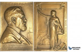 AA219, Sweden, Bronze Art Nouveau Plaque Medal 1908 (76x52mm, 132g) by Lindberg, Electricity, Cedergren