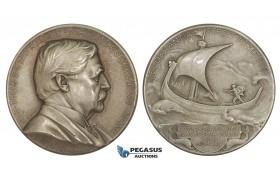 AA228, Sweden & Finland, Silver Medal 1925 (Ø31mm, 14.9g) by Lindberg, Nordenskiold, Science Academy, Viking