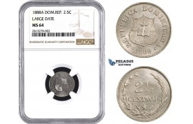 AA237, Dominican Republic, 2 1/2 Centavos 1888-A, Paris, NGC MS64