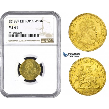 AA240, Ethiopia, Menellik II, Werk EE1889, Addis Ababa, Gold, NGC MS61