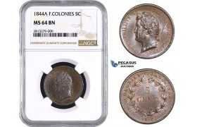 AA243, French Colonies, Louis Philippe I, 5 Centimes 1844-A, Paris, NGC MS64BN