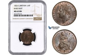 AA244, Great Britain, George IV, Farthing (1/4P) 1826 (Bare Bust) NGC MS63BN