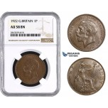 AA249, Great Britain, George V, Penny 1922, NGC AU58BN