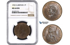 AA250, Great Britain, George V, Penny 1932, NGC MS64BN